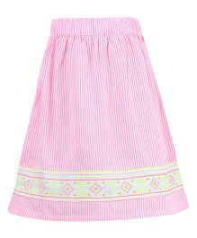 Miyo Striped Print Cotton & Polyester Skirt - Pink