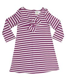 Orgaknit Striped Organic Cotton Dress - Purple