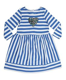 Orgaknit Striped Dress With Sequin Heart Applique - Blue