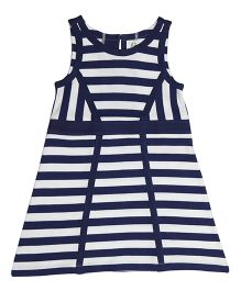 Orgaknit Stylish Striped Dress - Navy Blue