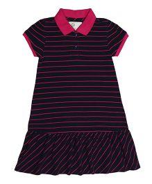 Orgaknit Polo Neck Dress - Black & Pink