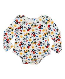 Orgaknit Car Print Organic Cotton Onesie - White & Multicolour