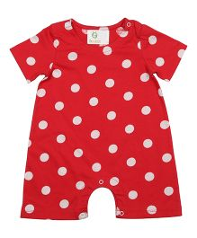 Orgaknit Polka Dot Print Organic Cotton Romper - Red