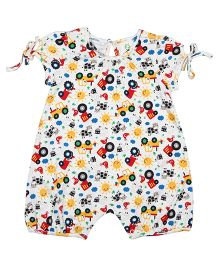 Orgaknit Car Print Organic Cotton Romper - Multicolour