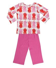 Orgaknit Octopus Print Organic Cotton Top & Pant - Pink