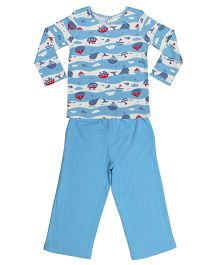Orgaknit Fish Print Organic Cotton Top & Pant Set - Blue & White