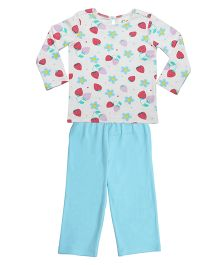 Orgaknit Strawberry Print Organic Cotton Top & Pant - Blue & Off White