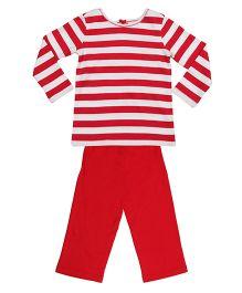 Orgaknit Stripe Print Organic Cotton Top & Pant - Red & White