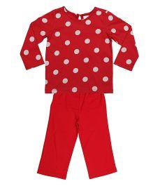 Orgaknit Polka Dot Print Organic Cotton Top & Pant - Red