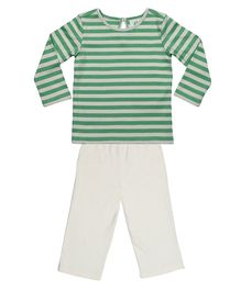 Orgaknit Stripe Print Organic Cotton Top & Pant - Green & White
