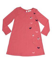 Orgaknit Butterfly Detailing Organic Cotton Dress - Pink