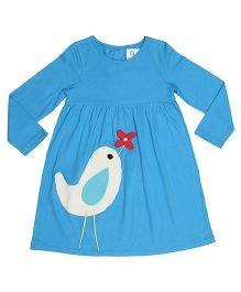 Orgaknit Bird Flower Organic Cotton Dress - Blue