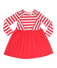 Orgaknit Stripe Print Organic Cotton Dress - Red & White