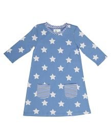 Orgaknit Star Print Organic Cotton Dress - Blue