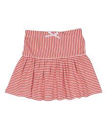 Orgaknit Stripe Print Organic Cotton Skirt - Red & White