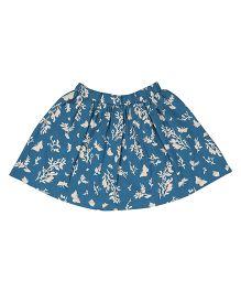 Orgaknit Floral Print Organic Cotton Skirt - Blue