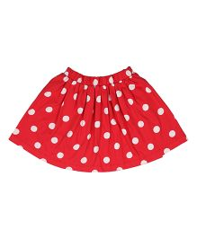Orgaknit Polka Dot Print Organic Cotton Skirt - Red
