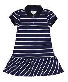 Orgaknit Collar Neck Stripe Print Dress - Navy Blue & White