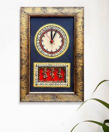 ExclusiveLane Warli Handpainted And Dhokra Work Clock - Black