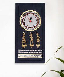 ExclusiveLane Warli Handpainted Clock - Black