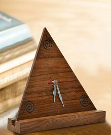 ExclusiveLane Triangular Sheesham Wooden Engraved Table Clock With Stand - Brown