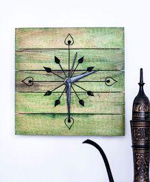 ExclusiveLane Wooden Engraved Wall Clock - Green