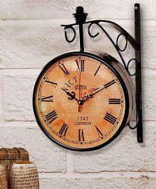 ExclusiveLane 8 Inch Dual Side Vintage Station Clock - Black