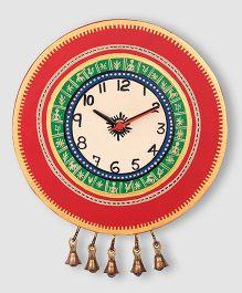 ExclusiveLane Warli Handpainted Wooden Round Clock - Red