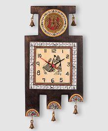 ExclusiveLane Warli Handpainted Wooden Zig-Zag Clock - Brown