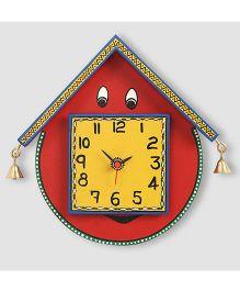 ExclusiveLane Warli Handpainted Wooden Face Clock - Red