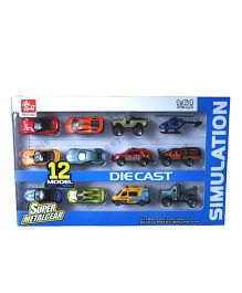 Adraxx Die Cast Simulation Set Of 12 Vehicles - Multicolor