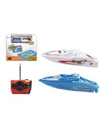 Adraxx Radio Control Boat Toy Pack Of 2 - White Blue