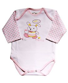 Kiwi Rabbit Print Full Sleeves Cotton Onesie - White & Pink