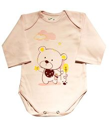 Kiwi Teddy Print Full Sleeves Onesie - Cream