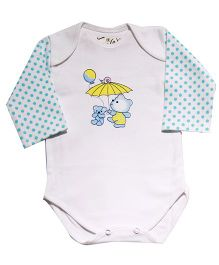 Kiwi Ballon Print Full Sleeves Onesie - White & Blue