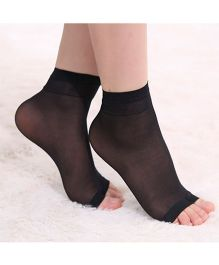 Pink Flamingo Open Toe Socks - Black