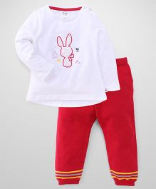 Simply Full Sleeves Top And Leggings Set Bunny Print - White Red