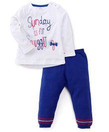 Simply Full Sleeves Top And Legging Embroidered Design - White & Blue