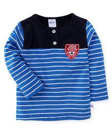 Simply Full Sleeves T-Shirt Stripes Print - Blue