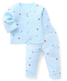 Superfie Printed Top & Pant Set - Sky Blue