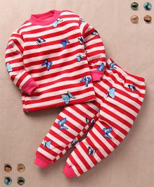 Superfie Stripes Butterfly Winter Set - Red & Cream