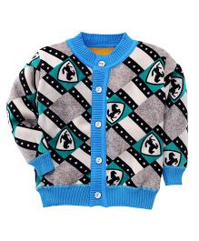Superfie Buttoned Box Printed Sweater - Blue
