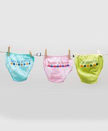 Plan B Cute Set Of 3 Panties - Blue & Pink