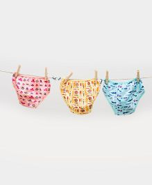 Plan B Cute Set Of 3 Panties - Blue & Pink