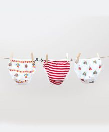 Plan B Cute Set Of 3 Panties - White & Red