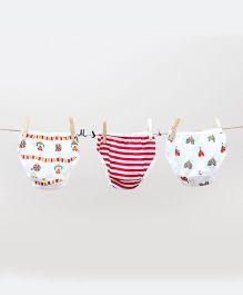 Plan B Cute Set Of 3 Panties - White & Red
