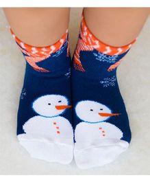 Plan B Snowman Print Socks - Blue & Orange
