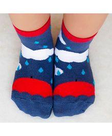 Plan B Let It Rain Socks - Blue & Red