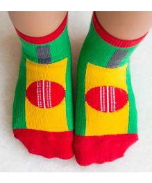 Plan B Cricket Print Socks - Red & Green