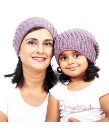 Magic Needles Netted Beanie Parent & Child Cap Set - Purple Haze